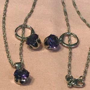 Jewelry - 925 Sterling Silver Amethyst Necklace Set